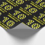 "[ Thumbnail: Black & Yellow Striped ""10""; 10th Birthday + Name Wrapping Paper ]"