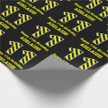 "[ Thumbnail: Black & Yellow Striped ""11""; 11th Birthday + Name Wrapping Paper ]"