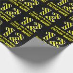 "[ Thumbnail: Black & Yellow Striped ""12""; 12th Birthday + Name Wrapping Paper ]"