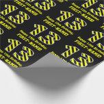 "[ Thumbnail: Black & Yellow Striped ""13""; 13th Birthday + Name Wrapping Paper ]"