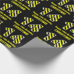 "[ Thumbnail: Black & Yellow Striped ""14""; 14th Birthday + Name Wrapping Paper ]"