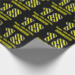 "[ Thumbnail: Black & Yellow Striped ""18""; 18th Birthday + Name Wrapping Paper ]"