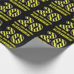 "[ Thumbnail: Black & Yellow Striped ""20""; 20th Birthday + Name Wrapping Paper ]"