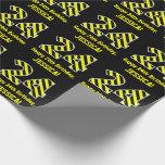 "[ Thumbnail: Black & Yellow Striped ""24""; 24th Birthday + Name Wrapping Paper ]"