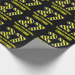 "[ Thumbnail: Black & Yellow Striped ""27""; 27th Birthday + Name Wrapping Paper ]"
