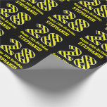 "[ Thumbnail: Black & Yellow Striped ""28""; 28th Birthday + Name Wrapping Paper ]"