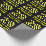 "[ Thumbnail: Black & Yellow Striped ""29""; 29th Birthday + Name Wrapping Paper ]"
