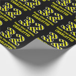 """[ Thumbnail: Black & Yellow Striped """"32""""; 32nd Birthday + Name Wrapping Paper ]"""