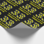 "[ Thumbnail: Black & Yellow Striped ""33""; 33rd Birthday + Name Wrapping Paper ]"