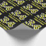 "[ Thumbnail: Black & Yellow Striped ""34""; 34th Birthday + Name Wrapping Paper ]"
