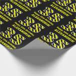 "[ Thumbnail: Black & Yellow Striped ""35""; 35th Birthday + Name Wrapping Paper ]"