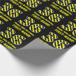 "[ Thumbnail: Black & Yellow Striped ""36""; 36th Birthday + Name Wrapping Paper ]"