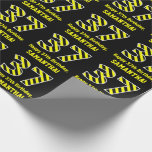 "[ Thumbnail: Black & Yellow Striped ""37""; 37th Birthday + Name Wrapping Paper ]"