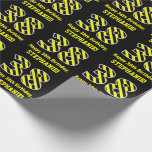"[ Thumbnail: Black & Yellow Striped ""38""; 38th Birthday + Name Wrapping Paper ]"