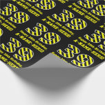 "[ Thumbnail: Black & Yellow Striped ""39""; 39th Birthday + Name Wrapping Paper ]"
