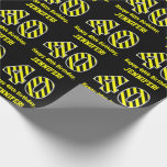 "[ Thumbnail: Black & Yellow Striped ""40""; 40th Birthday + Name Wrapping Paper ]"