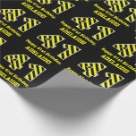 "[ Thumbnail: Black & Yellow Striped ""41""; 41st Birthday + Name Wrapping Paper ]"