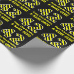 "[ Thumbnail: Black & Yellow Striped ""42""; 42nd Birthday + Name Wrapping Paper ]"
