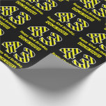 "[ Thumbnail: Black & Yellow Striped ""43""; 43rd Birthday + Name Wrapping Paper ]"