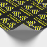 "[ Thumbnail: Black & Yellow Striped ""44""; 44th Birthday + Name Wrapping Paper ]"