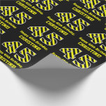 "[ Thumbnail: Black & Yellow Striped ""45""; 45th Birthday + Name Wrapping Paper ]"