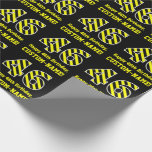 "[ Thumbnail: Black & Yellow Striped ""46""; 46th Birthday + Name Wrapping Paper ]"