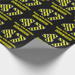 "[ Thumbnail: Black & Yellow Striped ""47""; 47th Birthday + Name Wrapping Paper ]"