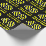"[ Thumbnail: Black & Yellow Striped ""49""; 49th Birthday + Name Wrapping Paper ]"