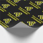 "[ Thumbnail: Black & Yellow Striped ""4""; 4th Birthday + Name Wrapping Paper ]"