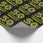 "[ Thumbnail: Black & Yellow Striped ""50""; 50th Birthday + Name Wrapping Paper ]"
