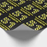 "[ Thumbnail: Black & Yellow Striped ""51""; 51st Birthday + Name Wrapping Paper ]"