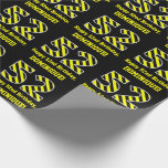 "[ Thumbnail: Black & Yellow Striped ""52""; 52nd Birthday + Name Wrapping Paper ]"