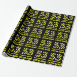 "[ Thumbnail: Black & Yellow Striped ""53""; 53rd Birthday + Name Wrapping Paper ]"