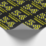 "[ Thumbnail: Black & Yellow Striped ""54""; 54th Birthday + Name Wrapping Paper ]"