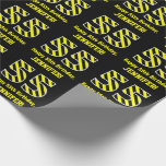 "[ Thumbnail: Black & Yellow Striped ""55""; 55th Birthday + Name Wrapping Paper ]"