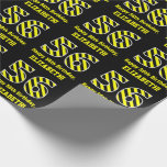 "[ Thumbnail: Black & Yellow Striped ""56""; 56th Birthday + Name Wrapping Paper ]"