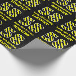 "[ Thumbnail: Black & Yellow Striped ""58""; 58th Birthday + Name Wrapping Paper ]"