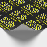 "[ Thumbnail: Black & Yellow Striped ""59""; 59th Birthday + Name Wrapping Paper ]"