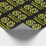 "[ Thumbnail: Black & Yellow Striped ""60""; 60th Birthday + Name Wrapping Paper ]"