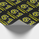 "[ Thumbnail: Black & Yellow Striped ""61""; 61st Birthday + Name Wrapping Paper ]"