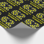 "[ Thumbnail: Black & Yellow Striped ""62""; 62nd Birthday + Name Wrapping Paper ]"