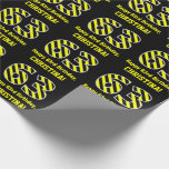 "[ Thumbnail: Black & Yellow Striped ""63""; 63rd Birthday + Name Wrapping Paper ]"