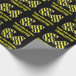 "[ Thumbnail: Black & Yellow Striped ""64""; 64th Birthday + Name Wrapping Paper ]"
