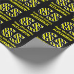 "[ Thumbnail: Black & Yellow Striped ""65""; 65th Birthday + Name Wrapping Paper ]"