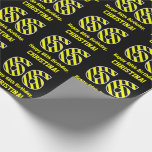 "[ Thumbnail: Black & Yellow Striped ""66""; 66th Birthday + Name Wrapping Paper ]"