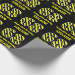 "[ Thumbnail: Black & Yellow Striped ""68""; 68th Birthday + Name Wrapping Paper ]"