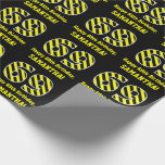 "[ Thumbnail: Black & Yellow Striped ""69""; 69th Birthday + Name Wrapping Paper ]"