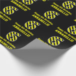 "[ Thumbnail: Black & Yellow Striped ""6""; 6th Birthday + Name Wrapping Paper ]"