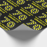 "[ Thumbnail: Black & Yellow Striped ""70""; 70th Birthday + Name Wrapping Paper ]"