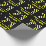 "[ Thumbnail: Black & Yellow Striped ""71""; 71st Birthday + Name Wrapping Paper ]"